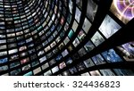 curved video wall. 3d rendering | Shutterstock . vector #324436823
