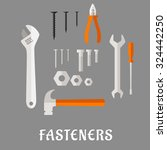 fasteners and tools flat icons... | Shutterstock .eps vector #324442250