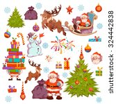 merry christmas icon set with... | Shutterstock .eps vector #324442838