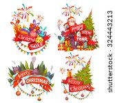 merry christmas banner set with ... | Shutterstock .eps vector #324443213