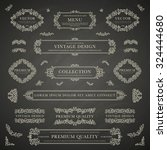 set of white decorative vintage ... | Shutterstock .eps vector #324444680