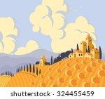 vector landscape with village...   Shutterstock .eps vector #324455459