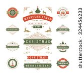 christmas labels and badges... | Shutterstock .eps vector #324456233
