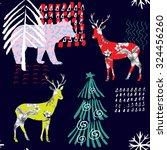 hand drawn winter animals...   Shutterstock .eps vector #324456260