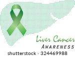 green ribbon and liver outline...   Shutterstock .eps vector #324469988
