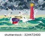 boat in tempest | Shutterstock .eps vector #324472400
