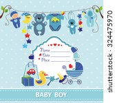 new born baby boy invitation... | Shutterstock .eps vector #324475970