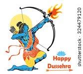 happy dussehra card.lord rama... | Shutterstock .eps vector #324479120