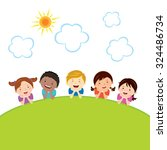 cheerful kids lying on grass.... | Shutterstock .eps vector #324486734