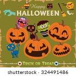 vintage halloween poster design | Shutterstock .eps vector #324491486