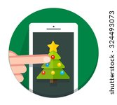 vector circle christmas icon... | Shutterstock .eps vector #324493073