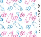 Stock vector seamless pattern with soothers rattles and baby bottles 324501080