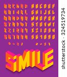 colorful isometric 3d type font ... | Shutterstock .eps vector #324519734
