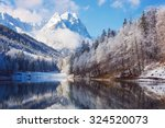 Winter Landscape With Lake And...