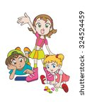 three cute children playing... | Shutterstock .eps vector #324524459