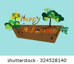 happy halloween text with tree... | Shutterstock .eps vector #324528140