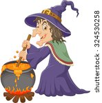 the ugly witch is stirring the... | Shutterstock . vector #324530258