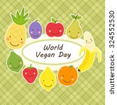 cute world vegan day card with... | Shutterstock .eps vector #324552530