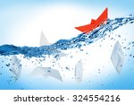 red boat is coping with the...   Shutterstock . vector #324554216