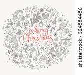 merry christmas doodle greeting ... | Shutterstock .eps vector #324554456