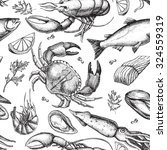 hand drawn seafood pattern.... | Shutterstock . vector #324559319