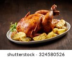 roasted chicken and vegetables... | Shutterstock . vector #324580526