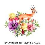 cute antelope animal in flowers.... | Shutterstock . vector #324587138