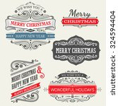 Set Of Christmas Labels With...