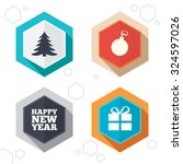 hexagon buttons. happy new year ... | Shutterstock .eps vector #324597026