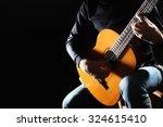 Acoustic Guitar Hands Closeup...