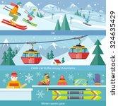 concept skiing winter sport... | Shutterstock .eps vector #324635429