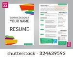 vector minimalist cv   resume... | Shutterstock .eps vector #324639593