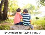 little sibling boy sitting... | Shutterstock . vector #324644570