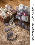 vintage gift box package ... | Shutterstock . vector #324645248