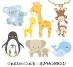 Stock vector vector illustration of animal and baby including koalas penguins giraffes monkeys elephants 324658820