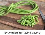 Cut Of Long Bean On Wood...