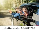 a father and his two kids are... | Shutterstock . vector #324703700
