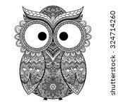 pattern boho ornamental owl... | Shutterstock .eps vector #324714260