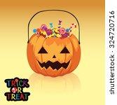 pumpkin basket  candy  sweet ... | Shutterstock .eps vector #324720716