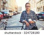 Cool Man Looking Camera City - Fine Art prints