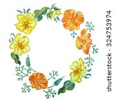 wreath of california poppy... | Shutterstock . vector #324753974