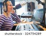 Close Up Of Happy Female Radio...
