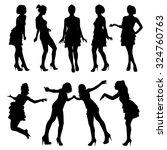 set of vector silhouettes.... | Shutterstock .eps vector #324760763