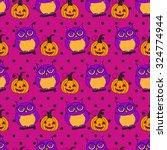 seamless halloween pattern ... | Shutterstock .eps vector #324774944