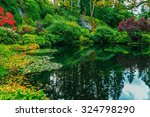 Small photo of Delightful landscaped and floral park Butchart Gardens on Vancouver Island. In a small pond, overgrown with lilies, reflected sky
