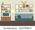 cozy living room interior with... | Shutterstock .eps vector #324799874