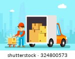 delivery man unload delivery... | Shutterstock .eps vector #324800573
