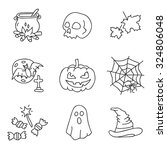 halloween. vector icons  hand... | Shutterstock .eps vector #324806048