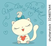 cute cartoon cat with heart and ... | Shutterstock .eps vector #324807644