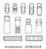 set of cars thin line icons top ... | Shutterstock .eps vector #324812318